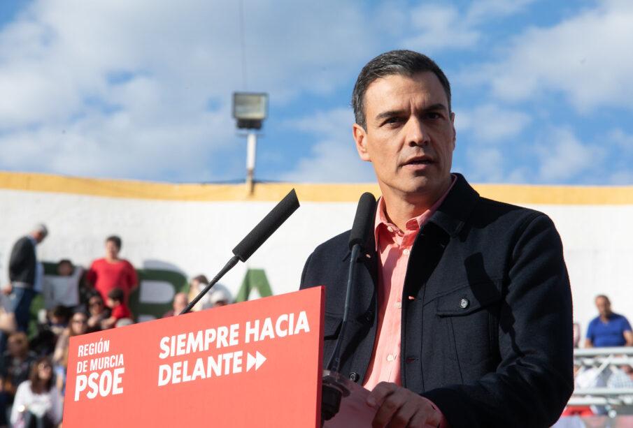 Pedro Sánchez, en un mitin la semana pasada en Calasparra (Murcia).