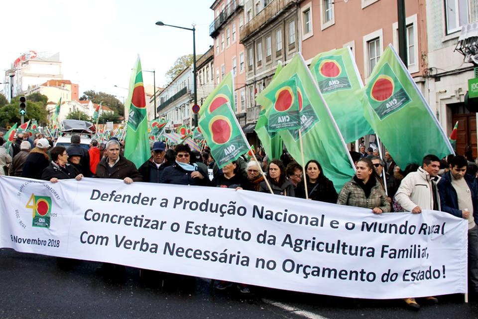 Manifestación de la CNA portuguesa en Lisboa el pasado mes de noviembre.