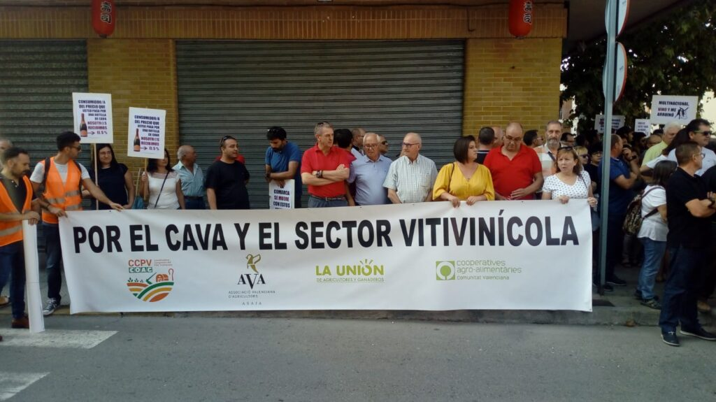 Manifestación de viticultores por las calles de Requena. Foto: Unió de Llauradors.