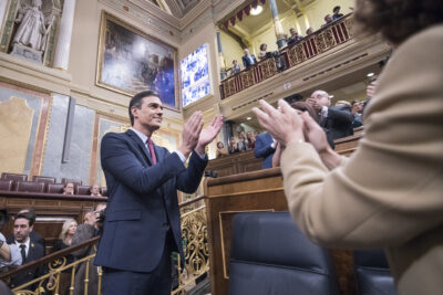Pedro Sánchez, tras ser investido como presidente del Gobierno. Foto: PSOE