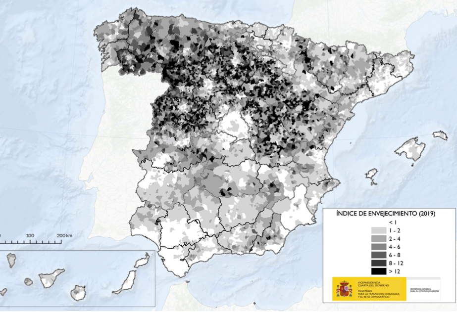 Índice de envejecimiento de los municipios en España.