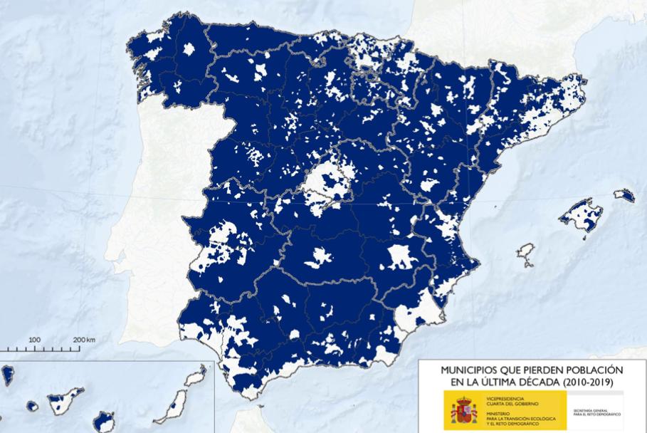 Municipios que pierden población en la última década.