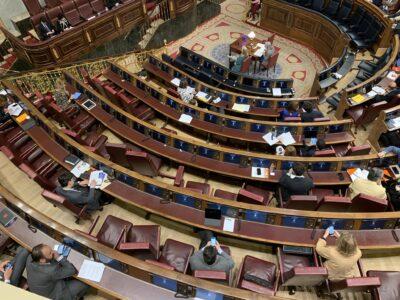 Vista del Pleno del Congreso durante la intervención de Luis Planas. Autor: @VillalbaNavarro (Twitter)
