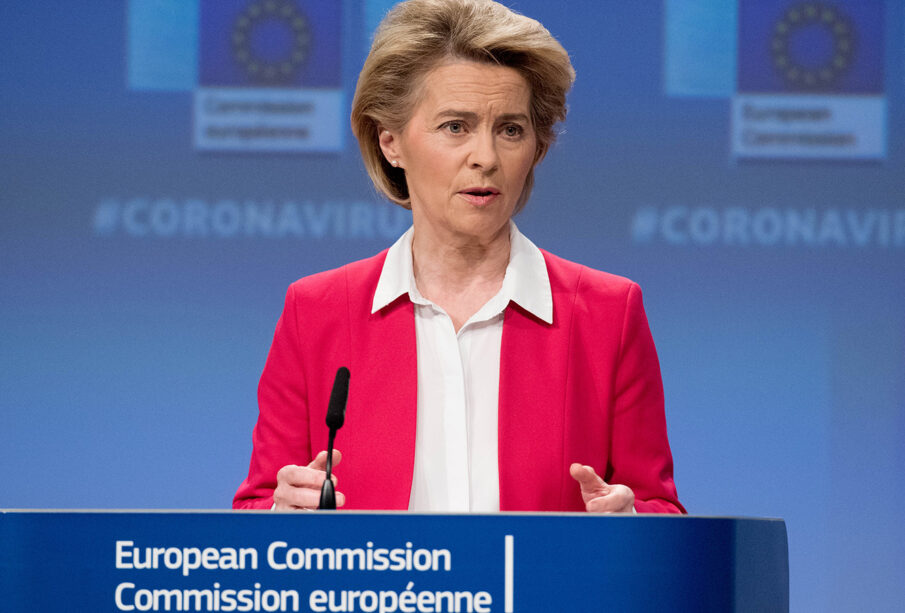 La presidenta de la Comisión Europea, Ursula von der Leyen, hoy en Bruselas.