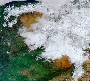 Fotografía por satélite de la nieve dejada por Filomena en España. Agencia Espacial Europea.
