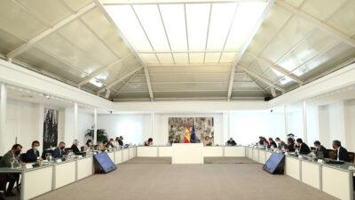 Comisión Delegada para el Reto Demográfico, reunida en el Palacio de la Moncloa, el 16 de marzo.