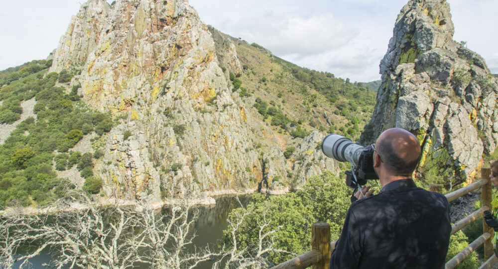 Un aficionado observa alimoches en Monfragüe (Cáceres), Foto: EDR