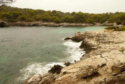Pinares bordean una cala en Menorca.