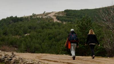 Unos caminantes pasean por un bosque en la provincia de Ávila. Foto: EDR.